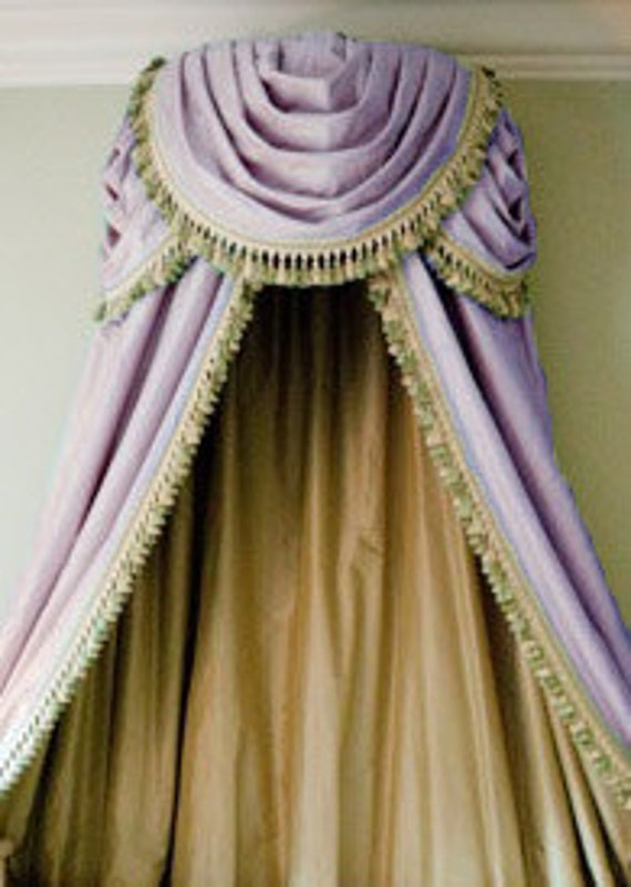 Items similar to Triple Swag in Elegant Silk Bed Canopy or Lavender Organza  Embroidered W/