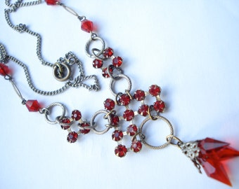 Art Deco Czech Necklace Red Glass Rhinestones 1920's 1930's