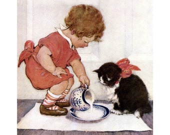 Girl with Kitten Magnet - Pouring a Saucer of Cream - Jessie Willcox Smith