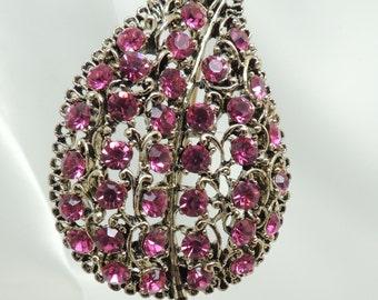 Vintage Pink Rhinestone Leaf Brooch