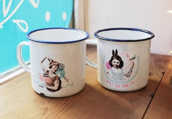Duo tasses Rétro / « Alice » et « Sirène »