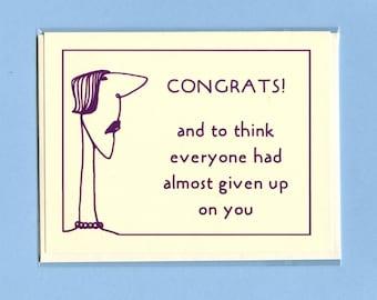 LOW EXPECTATIONS GRADUATION - Graduation Card - Graduation - Congratulations Card - Funny Grad Card - Congratulations - Congrats - Item C017