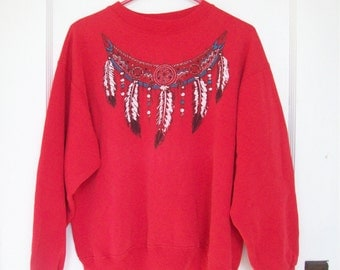 Native American Inspired Southwestern Sweatshirt Painted Feathers Beads and Glitter Slouchy Oversized Fit