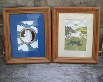 Vacation Sale Shipping Resumes 8/8 Two Vintage Wood Framed Unicorn Prints // 80s Mary Lake Thompson Art
