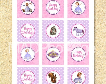 Sofia the First Cupcake toppers, Instant download, Sofia the 1st, Princess Sofia birthday, Princess Sofia the 1st Princess Baby Shower