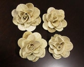 Wooden palm roses - wooden flowers - Set of 6