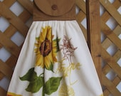Sunflower Print Kitchen Tea Towel LAST ONES U-Pick Top Color Yellow Sunflower Hanging Kitchen Tea Towel SnowNoseCrafts