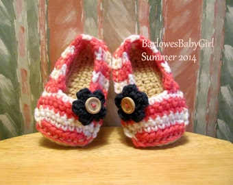 NEW - Buggs - Crochet Striped Espadrille in Lippy Pink and White