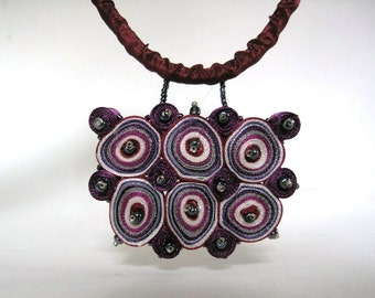 Statement necklace, textile necklace purple, textile pendant - Textile jewelry OOAK ready to ship