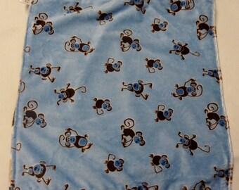 SALE! CUDDLE BLANKET- 15 inch- monkeys on blue minky