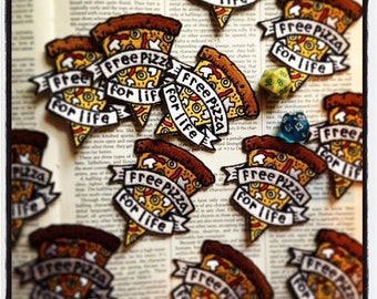 """Free Pizza For Life Embroidered Patch 3"""""""