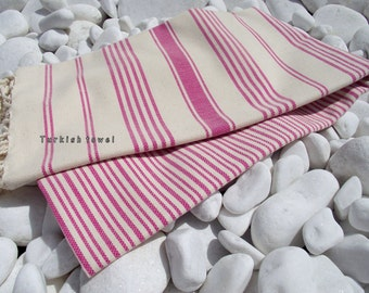 Turkishtowel-Hand woven,20/2 cotton warp and weft Turkish Bath,Beach Towel-Fuchsia stripes on Natural cream