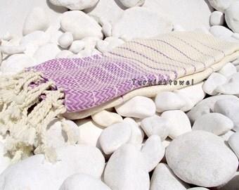 Turkishtowel-2014 Summer Collection-Hand woven,20/2 cotton,Soft,Zigzag,Turkish Bath,Beach Towel-Wisteria stripes on Natural cream