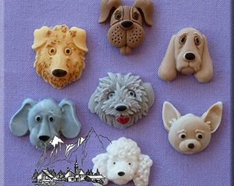 Food Grade Mold (M55) - Dog Heads Theme Design - Flexible Cake Decorating Mold - Reusable - The Art of Cake Decorating