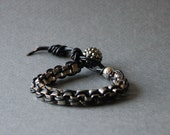 Leather wrap bracelet with rhodium silver plated chain bracelet-Big Size(Silver)