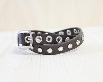 Star Mark Pointed Vintage Style Leather Bracelet(Dark Brown)