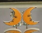 Crescent Moon Face Stud Earrings