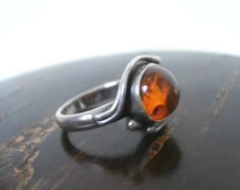 Small Size Amber Sterling Pinkie Ring