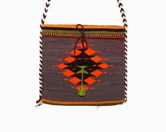 Vintage 70s Zapotec Wool Bag, Mexican Kilm Bag