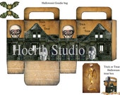 printable Halloween gothic Steampunk  candy  bag   DIY Haunted house style