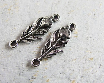 2 of 925 Sterling Silver Feather Links, Connectors 7.5x21mm. Oxidized Finish.  :th2060