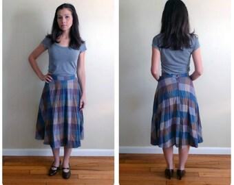 Vintage 1970s Wool Warm Toned Pleated Skirt