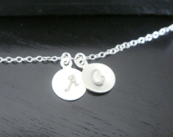 Sterling Silver Tiny Disc Two Letter Initial Necklace Heart Necklace Bridal Bridesmaids Birthday Christmas Initial Letter Necklace