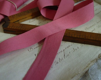 Antique early 1900s GORGEOUS Mauve Rose cotton silk blend ribbon, 2 yards