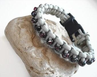 Cool Beaded Dog Collar, Light Grey and Black Flecked Beads