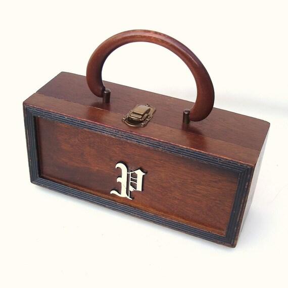 Vintage wooden box purse wood handbag 50s purse monogram bag letter p