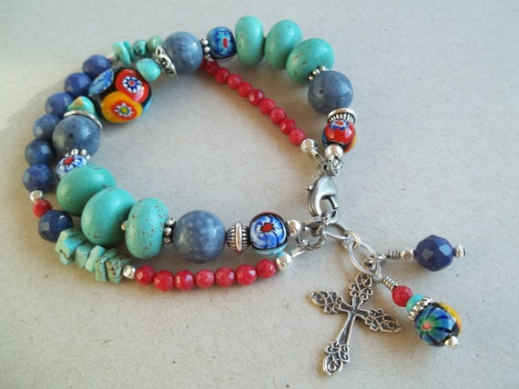 Boho Chic, Turquoise Jewelry, Faceted Coral, Milifiori Beaded Bracelet with Sterling Silver Cross & Beaded Charms
