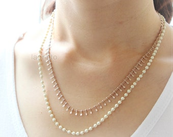 White Ball Beads layered Necklace
