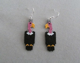 Vulture Earrings in delica seed beads