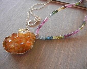 Tourmaline Citrine Pendant, Citrine Crystal Pendant, Watermelon Tourmaline, Yellow Crystal Druzy Necklace, Gold Citrine Pendant Necklace