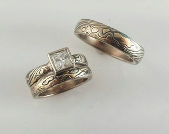 Tri color Mokume Gane Three Ring Wedding Set with princess cut solitare in full bezel