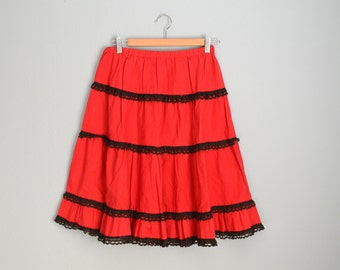 Vintage 70s 80s Red and Black Lace Twirly Kneelength Skirt // womens small medium