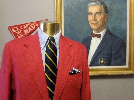 Andover Shop Red Linen Sport Coat 42R Hooked Vent Sack Ivy league