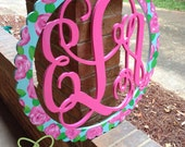 """24"""" Wood Interlocking Monogram Cutout with Scalloped Circle Border Personalized and Hand Painted"""