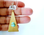Brass Pyramids - Raw Turquoise Gemstones - Rock Crystal Quartz - Sterling Ear Wires