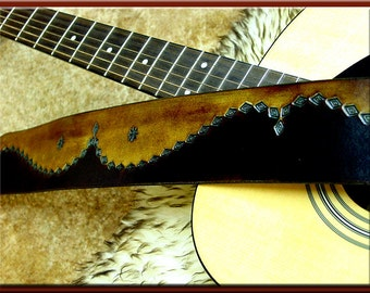 WESTERN ESSENCE II Design • A Beautifully Hand Tooled, Hand Crafted Leather Guitar Strap