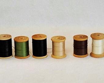 8 Large Size 50 Antique WOOD THREAD SPOOLS Belding Corticelli Mercerized Cotton
