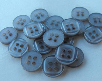 """33 Gray Square on Round Buttons Size 3/8"""""""