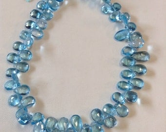 Swiss Blue Topaz Faceted Briolettes-6x4mm