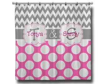 "Custom Personalized Monogram Shower Curtain - You Choose Size , 70"" x 70"", 70"" x 90"", or ANY size Chevron Polka Dots"