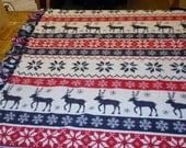 Fleece Deer And Snowflake Knot Blanket
