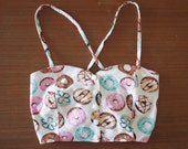 Donut Print Bustier Style Summer Crop Top 90s Clueless 60s Lolita