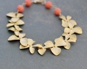 Cascading Gold Plated Flower Orchid Bracelet with Peach-Pink Coral, Gold Tropical Bracelet, Gift Under 40