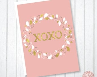 XOXO Wreath Valentine's Day Card