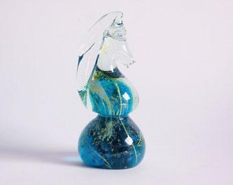 1970s Seahorse Sea Horse Art Glass Sculpture - Mdina