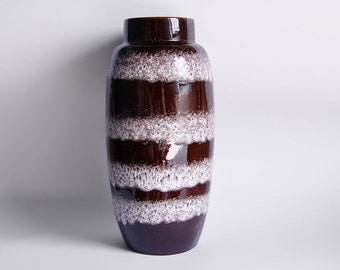 Vintage Dark Brown Floor Vase With White Stripes - Scheurich 70s